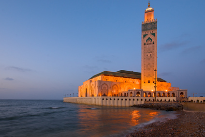 King Hasssan II mosque, Casablanca at dusk
